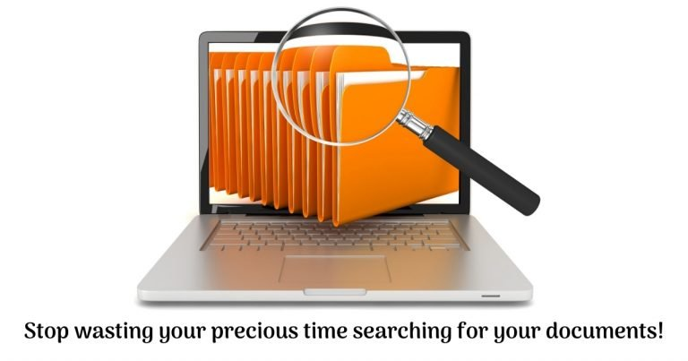 files on laptop with a large magnifying glass hovering over files. Text reads stop wasting your precious time searching for your documents!