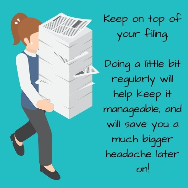 Cartoon woman carrying a massive stack of papers indicating it is much easier to keep on top of your filing by doing it regularly rather than leaving it to build up